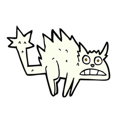 Comic cartoon frightened cat vector