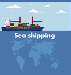 Commercial sea shipping banner template vector