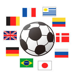 country flags around soccer ball vector image