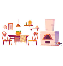 Cozy cafe or pizzeria interior set with oven vector