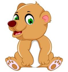 cute bear cartoon sitting vector image vector image