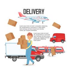 delivery service background man holding boxes vector image