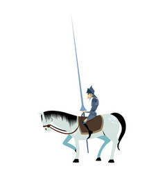 Don quixote and white horse pose vector