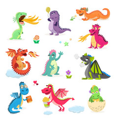 Dragon cartoon cute dragonfly dino vector
