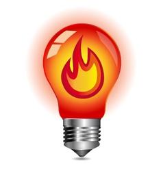 Energy concept fire inside the light bulb vector