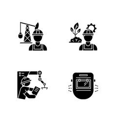 engineer job black glyph icons set on white space vector image