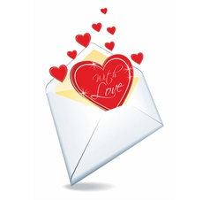 envelope and hearts vector image