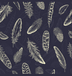 Feathers sketch seamless pattern hand drawn vector