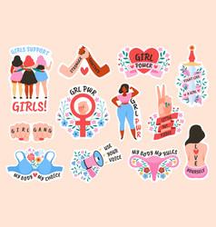 Feminism female power and solidarity women vector