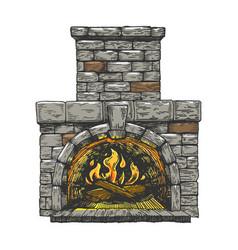 Fire in fireplace line art sketch vector