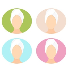 Flat design of a woman with towel in spa vector image