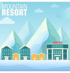 Flat resort mountain concept backgrounds te vector