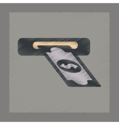flat shading style icon dollar money vector image