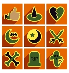 Flat with shadow concept Halloween Icons on a vector