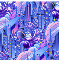Graphic pattern of futuristic city vector