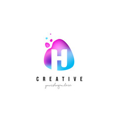 H letter dots logo design with oval shape vector