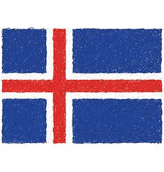 Hand drawn of flag of Iceland vector