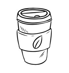 Hand drawn reusable plastic to go cup ecological vector