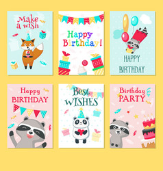 Happy birthday card template set vector