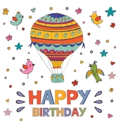 Happy birthday card with hot air balloon and birds vector