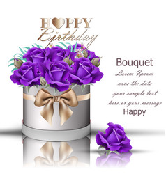 happy birthday violet roses bouquet vector image