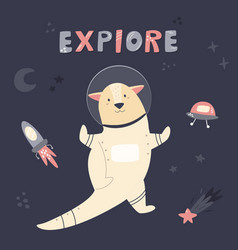 Happy cute astronaut otter floating in space vector