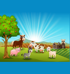 Happy farm activity in morning vector