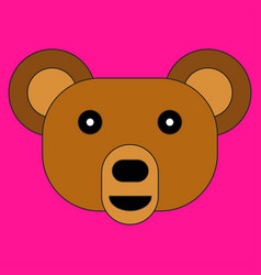 head of a bear in cartoon flat style vector image