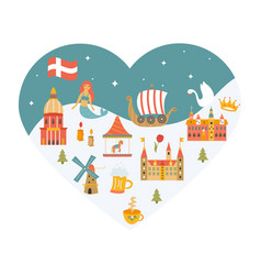 heart shaped poster with set of danish symbols vector image