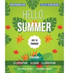 Hello Summer Beach Party Flyer vector