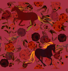 Horses and leaves stems and inflorescences of vector
