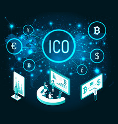 ico cryptocurrency digital presentation set vector image
