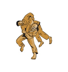 Judo Combatants Throw Front Etching vector image