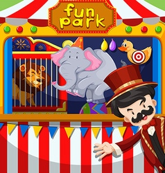 MC and animal show at the circus vector