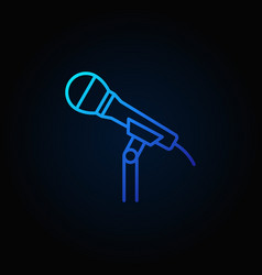 Microphone on the stand blue line icon or vector