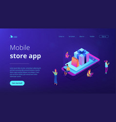 mobile store app isometric 3d landing page vector image