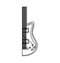 monochrome contour with half electric guitar vector image