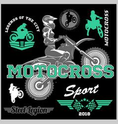 motocross rider badge logo emblem vector image
