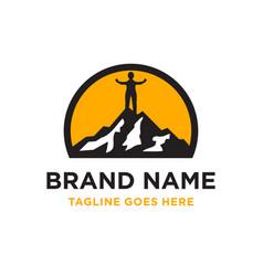 mountain climbing logo vector image