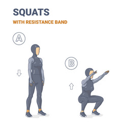 Muslim girl doing air squats exercise in sporty vector