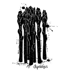 Of Isolated Black Asparagus Silhouette vector