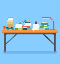 office interior with table books and folders vector image