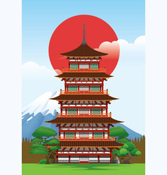 pagoda in japan vector image