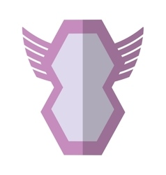 Pink shield winged shape geometric badge shadow vector