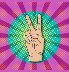 pop art victory sign gesture thumb up hand vector image