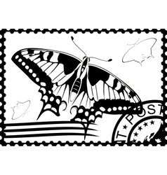 Postage stamp from swallowtail vector