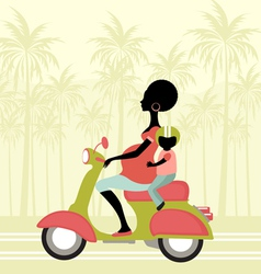pregnant woman scootering with a child vector image vector image