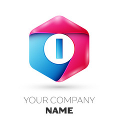 Realistic letter i in colorful hexagonal vector