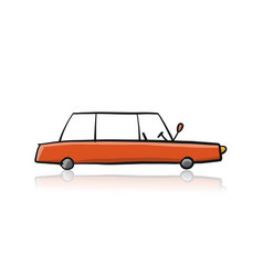 retro red car isolated on white sketch for your vector image