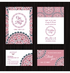 Save date rsvp cards wedding invitation coral vector